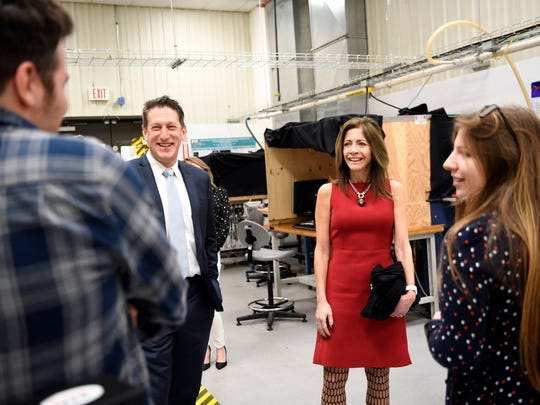 (from left) Intern Vinicius Wagner, Assemblyman Andrew Zwicker (D-NJ), first lady Tammy Murphy, and grad student Geena Elghossain talk about working on fusion energy in the Princeton Plasma Physics Laboratory during the first lady's visit in Princeton, NJ on Tuesday, February 20, 2018.