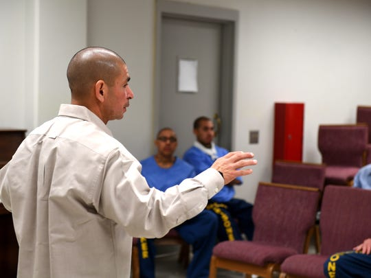 Placencia speaks to inmates at Salinas Valley State Prison after he serving 26 years at the Correctional Training Facility state prison.