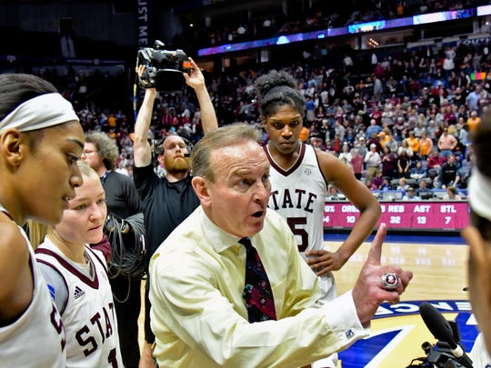 Mississippi State Lady Bulldogs head coach Vic Schaefer tells his team one more game following their victory over the Texas A&M Aggies in semi final game one at Bridgestone Arena. Mississippi State won 70-55. Mandatory Credit: Jim Brown-USA TODAY Sports