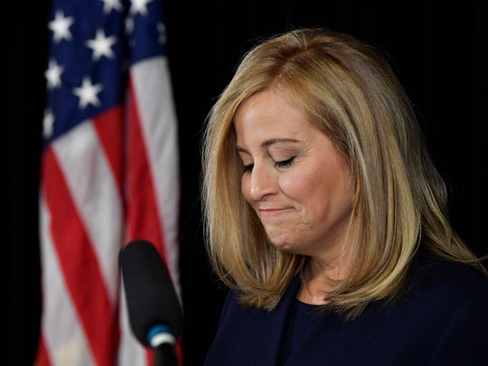 Nashville Mayor Megan Barry announces her resignation at a press conference in the mayor's conference room at Metro Courthouse Tuesday, March 6, 2018 in Nashville, Tenn. Earlier, Barry pleaded guilty to felony theft of property over $10,000 related to her affair with former police bodyguard Sgt. Rob Forrest.