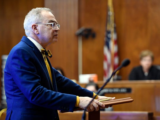 Brian Neary, attorney of defendant Joseph Ferretti, gives his closing statement to the jury in Judge Margaret Foti's courtroom in the Bergen County Courthouse on Tuesday, March 13, 2018.