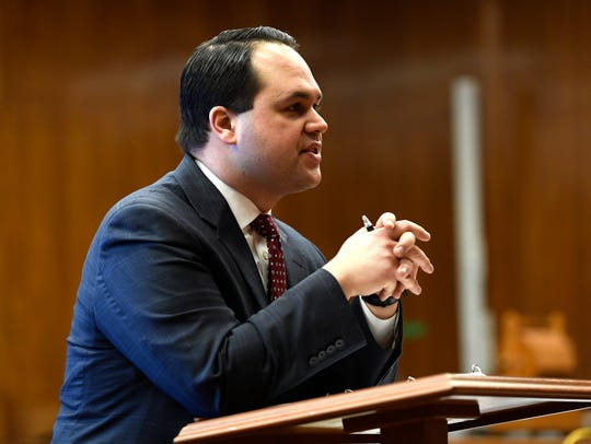 Bergen County Prosecutor Anthony Talarico gives his closing statement to the jury in Judge Margaret Foti's courtroom in the Bergen County Courthouse on Tuesday, March 13, 2018.
