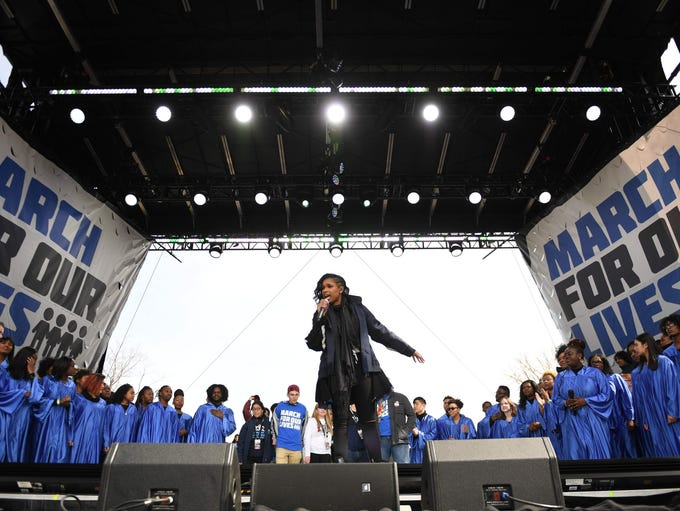 Actress Jennifer Hudson sings during the March for