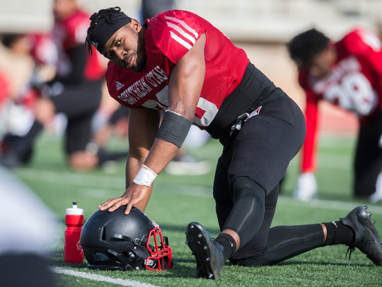 Sommy Achebo at Southern Utah University football practice in Eccles Coliseum Wednesday, April 4, 2018.