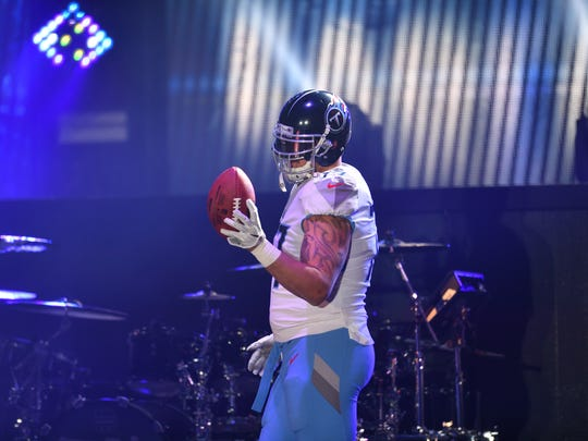 Tennessee Titans tackle Taylor Lewan in the new uniforms