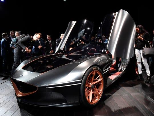 The Genesis Essentia Concept on display at the New York International Auto Show on March 28, 2018. (Danielle Parhizkaran, USA TODAY NETWORK)