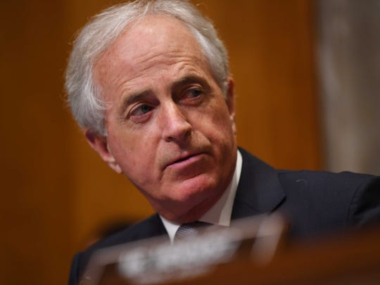 Washington, DC, USA;  Chairman Sen. Bob Corker, R-Ten., listens during Mike Pompeo's confirmation hearing for Secretary of State before the Senate Foreign Relations Committee.