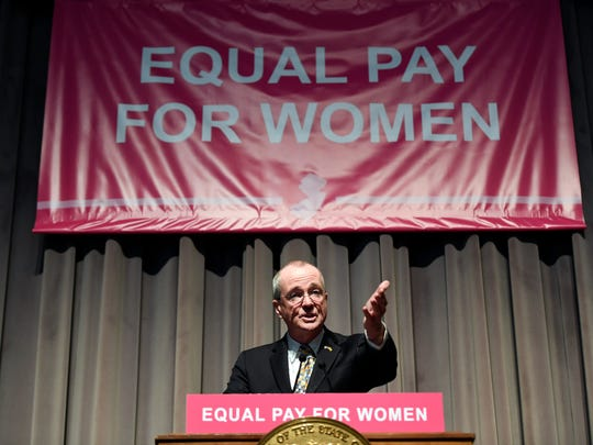 Governor Phil Murphy speaks before signing the Diane B. Allen Equal Pay Act in Trenton, NJ on Tuesday, April 24, 2018.