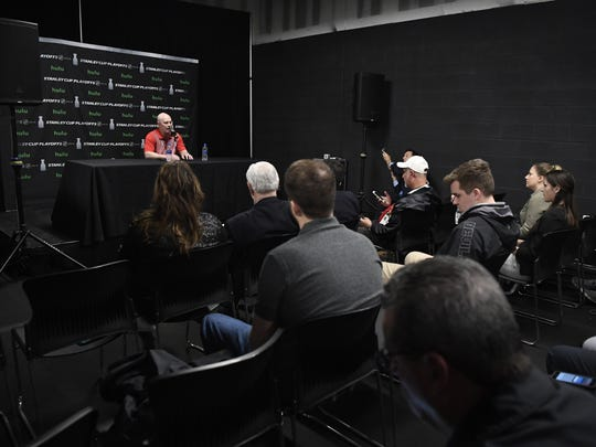 New Jersey Devils head coach John Hynes gives his last press conference of the season after the Devils lost to the Tampa Bay Lightning in Round 1 of the Stanley Cup Playoffs in Newark, NJ on Wednesday, April 25, 2018.