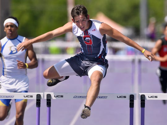 Willie Munoz of Sonora leaps to a victory in the Boys 300 Meter Hurdles Saturday April 28, 2018. The Region 1-3A Track and Field Championship was held at Abilene Christian University.