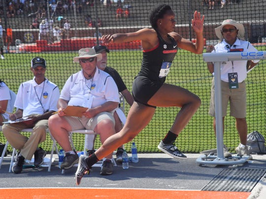 Georgia senior Keturah Orji wins the triple jump at the SEC outdoor track and field championships at Tom Black Track on Sunday, May 13, 2018.