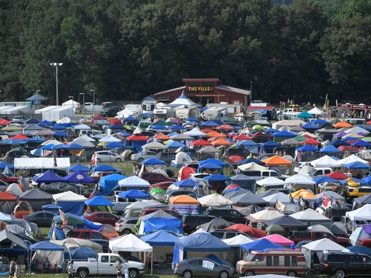 The main camping area from the ferris wheel at the Bonnaroo Music and Arts Festival in Manchester, Tenn., on Thursday, June 7, 2018.
