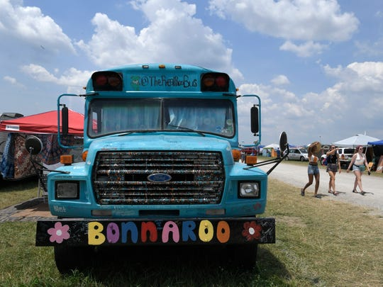A bus at the Bonnaroo Music and Arts Festival in Manchester, Tenn., on Friday, June 8, 2018.