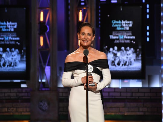 "Laurie Metcalf accepts the award for best performance by an actress in a featured role in a play for Edward Albee's ""Three Tall Women."""