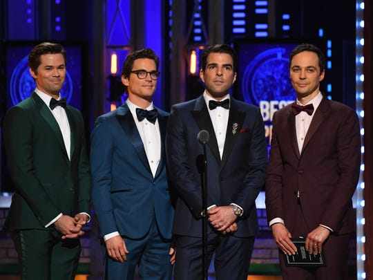 The Boys in the Band cast members, from left, Andrew Rannells, Matt Bomer, Zachary Quinto and Jim Parsons present the award for best play during the 72nd annual Tony Awards, Monday, June 10.
