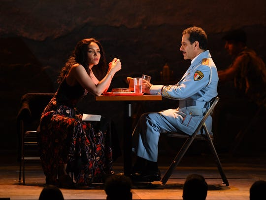 "Katrina Lenk (left) and Green Bay native Tony Shalhoub perform a scene from the musical ""The Band's Visit"" at the 72nd Tony Awards at Radio City Music Hall. ""The Band's Visit,"" based on a 2007 Israeli movie, was the big winner at Sunday night's Tonys, including awards for both Shalhoub and Link."