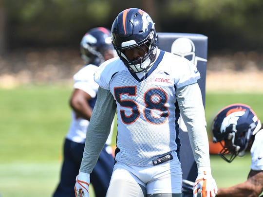Jun 12, 2018; Englewood, CO, USA; Denver Broncos linebacker Von Miller (58) participates in drills during mini camp at the UCHealth Training Center. Mandatory Credit: Ron Chenoy-USA TODAY Sports