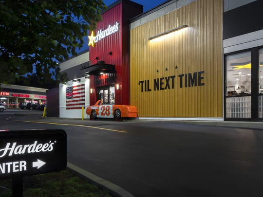 A Nascar replica in the drive-thru at the redesigned