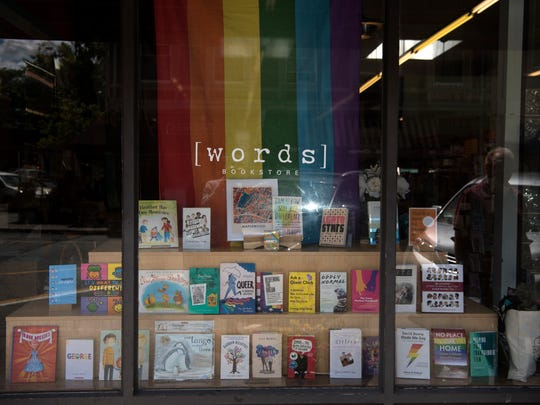 LGBTQ-themed children's and young adult book display at Words in Maplewood on Tuesday, June 19, 2018.