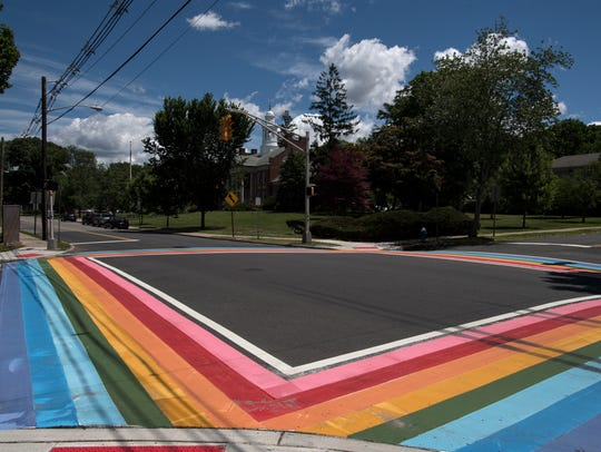 Rainbow painted crosswalks in Maplewood on Tuesday,