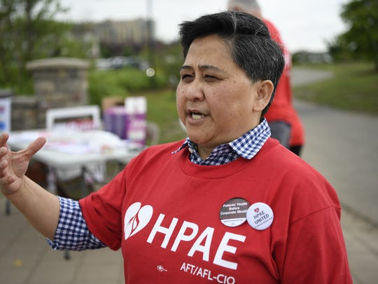 """Lorna """"Mickie"""" Miquiabas, President of HPAE Local 5030 and registered nurse at HMH Palisades Medical Center for 32 years, says the patients are the ones at risk when nurse-to-patient ratio is too high."""