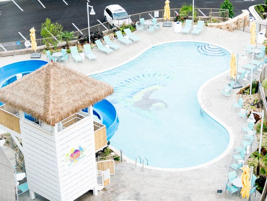An overhead view of the outdoor pool during an exclusive