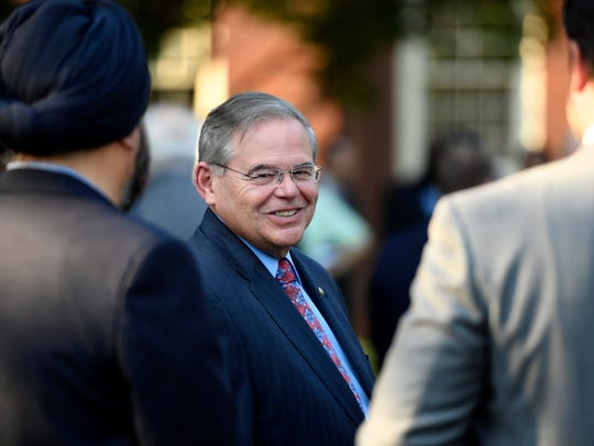 U.S. Senator Bob Menendez (D-NJ) arrives to the Teaneck