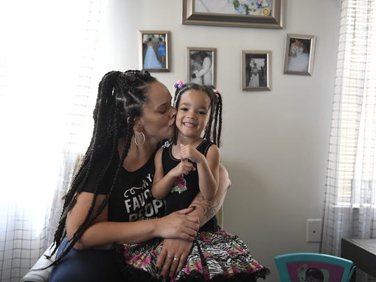 Jennifer Torres and her daughter Dominique, 4, in their