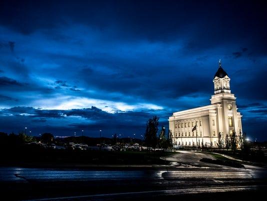 Cedar City temple in rain