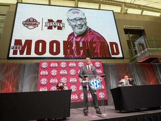 Mississippi State Bulldogs head coach Joe Moorhead speaks to the media during SEC football media day at College Football Hall of Fame. Mandatory Credit: Dale Zanine-USA TODAY Sports