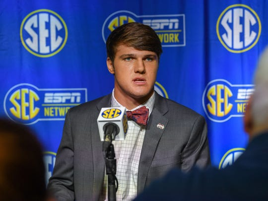 Mississippi State Bulldogs quarterback Nick Fitzgerald talks to members of the media during SEC football media day at the College Football Hall of Fame. Mandatory Credit: Dale Zanine-USA TODAY Sports