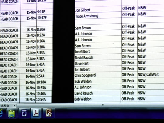 Cellphone records of UT head coach Butch Jones presented during the questioning of KPD Investigator Tim Riddle on July 26.