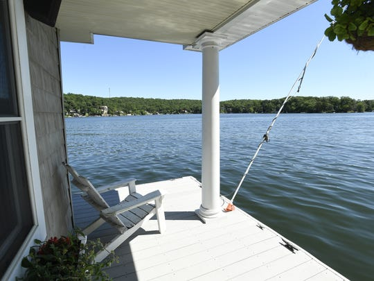 The view from the boathouse. This lake-front home is selling for $2.2 million dollars in Hopatcong, NJ.