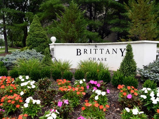 The entrance to Brittany Chase, a complex of 395 condominiums