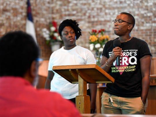 Adia Tigney, left and D.J. Hudson of Black Lives Matter