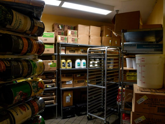The one dry storage closet for food for the jail can be seen crowded with supplies at Madison County Jail in Jackson, Tenn., on Wednesday, Aug. 29, 2018.