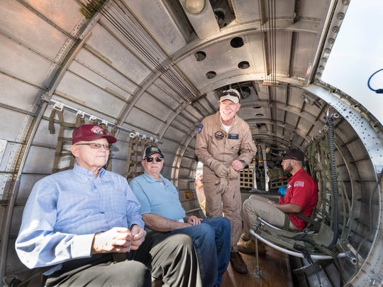 """Lowell Elliott, left, and Howard Hildebrand wait to fly in the B-17 Bomber """"Sentimental Journey"""" on Monday, September 10, 2018. The B-17G, one of eight still flying today, will be on display at the Visalia Airport through Sunday."""