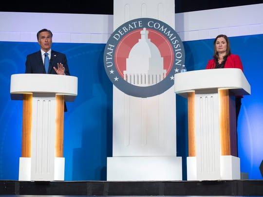 U.S. Senate candidates Mitt Romney, a Republican, and