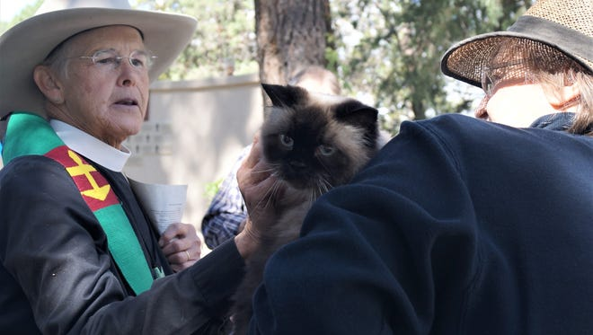Rev. Judy Burgess blessing Chloe the cat at Blessing of the Pets Saturday.