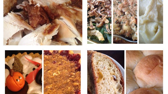 A Sioux Falls Thanksgiving (clockwise from top left): broasted turkey from Bob's Cafe, green bean casserole, dressing and scalloped corn from Hy-Vee, mashed potatoes from Cleaver's Market, rolls from Breadsmith, jalapeno cheddar cornbread from Breadico, cherry pie from Queen City Bakery and pumpkin pie from CH Patisserie.