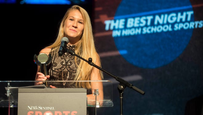 Rebecca Story of Christian Academy of Knoxville received the Cross Country Runner of the Year at the News Sentinel Sports Awards at the Tennessee Theatre on Wednesday, June 7, 2017.