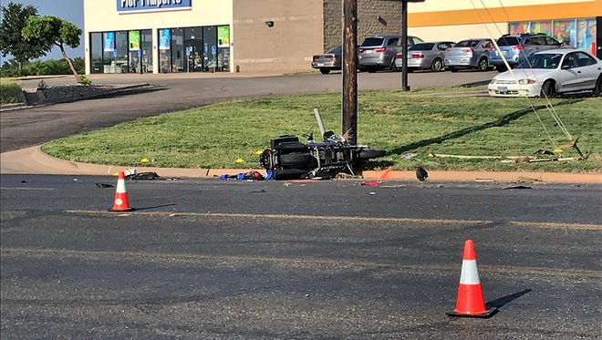 A motorcycle lays on its side after its driver lost control and wrecked at the 4200 block of Sunset Drive, June 1, 2018