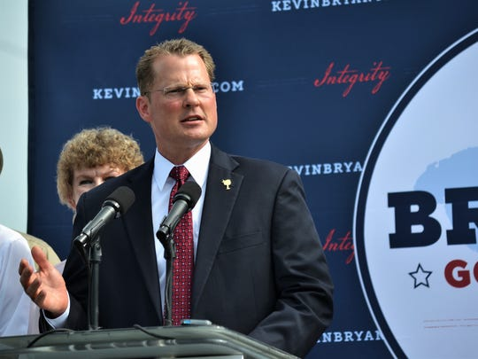 Lt. Gov. Kevin Bryant announces his intent to run for S.C. governor on Friday morning at the Cromer Food Services compound in Anderson.