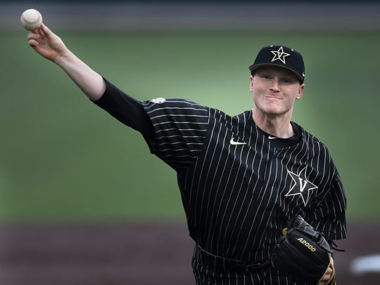 Vanderbilt pitcher Drake Fellows (66) pitches against