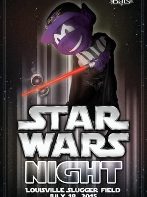 Buddy the Bat plays the role of the villain on the club's Star Wars Night poster.