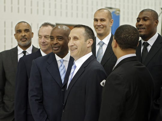 Cleveland Cavaliers head coach David Blatt, center, poses with his assistant coaches at the team's practice facility in Independence, Ohio on Sept. 26, 2014. At far left is Phil Handy, the team's director of player development. Handy will conduct a series of clinics on Guam from July 30 through Aug. 2 at Okkodo High School.