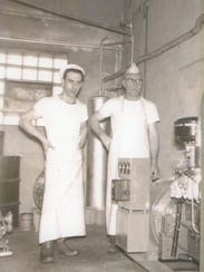 Francis (left) and Frank Baker at the Baker Cheese