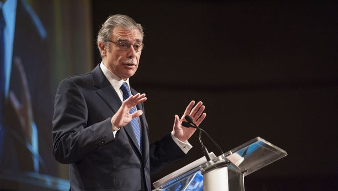 Carlos Gutierrez, former U.S. Secretary of Commerce and former president and CEO of Kellogg Co., speaks  at the 49th annual Food Marketing Conference at the Radisson Hotel in Kalamazoo.