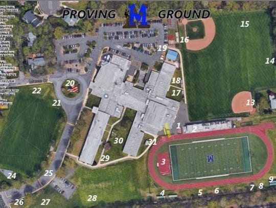Aerial view of the stations for Metuchen High School's