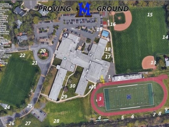 Aerial view of the stations for Metuchen High School's obstacle course